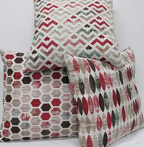 Confección Saymi Fundas cojin 3 Uds. Ref. Geometric Color Rojo 45 x 45 sin Rellenos, Tejido loneta...