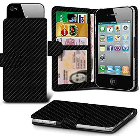 ( Black Carbon) case for Kazam Tornado 348 case cover pouch High Quality Thin Carbon Effect Holdit Spring Clamp Clip on Adjustable Wallet case cover Skin With Credit/Debit Kazam Tornado 348 case by i-Tronixs