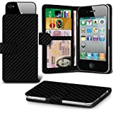 ( Black Carbon) case for Argos Alba 5 Inch case cover pouch High Quality Thin Carbon Effect Holdit Spring Clamp Clip on Adjustable Wallet case cover Skin With Credit/Debit Argos Alba 5 Inch case by i-Tronixs