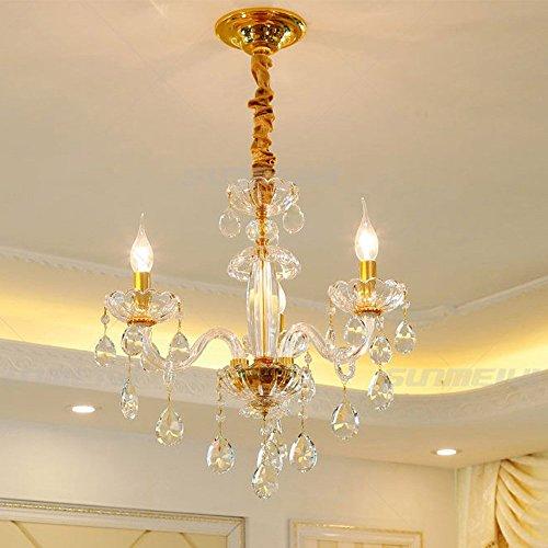 Luxus K9 Kristall Kronleuchter Beleuchtung Gold Kerze LED Anhänger Hängende Wohnzimmer Lüster De Cristal Lampenfassungen, 3 Lichter -