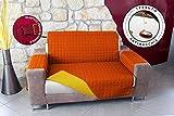 Banzaii Copridivano Trapuntato Tinta Unita Impermeabile antimacchia Bicolore Imbottito 3 Posti Giallo/Arancio Seduta da 170 a 205 cm