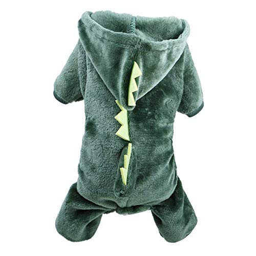 song rong 1set Haustier-Mantel-Kostüm Cute Dog Pyjamas Kleidung Coral Fleece Pet Outfit Hundebedarf Herbst und Winter Puppy Hoodie Set Größe L (Dinosaurier) (Songs Zu Halloween Einfache)