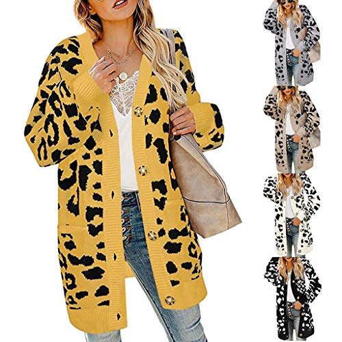 XINAINI Damen Strickjacke Elegant Einfarbig Pullover Oversized Leopard Sweaters Mantel - ÜBergangsjacke Cardigan Strickmantel - Casual Pulli Jacke Weihnachten Windmantel 5