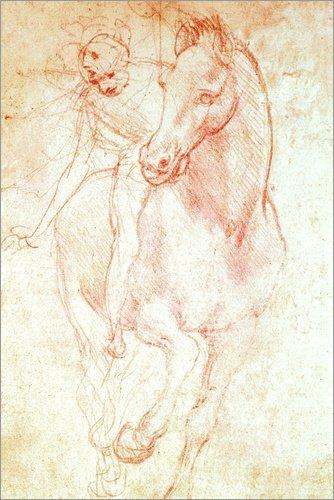 Posterlounge Alu Dibond 120 x 180 cm: Studie eines Pferdes mit Reiter von Leonardo da...