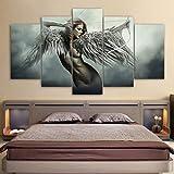 XLST Leinwand HD Druckt Wandkunst Bilder 5 Stücke Sets Fantasie Engel Krieger Flügel Gemälde Wohnkultur Anime Girl Poster Rahmen,A,30x40x2+30x60x2+30x80x1