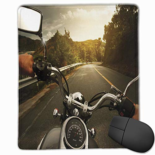 Mouse Mat Stitched Edges, Rider Driving A Chopper On Asphalt Road Within Forest Journey Photography,Gaming Mouse Pad Non-Slip Rubber Base -