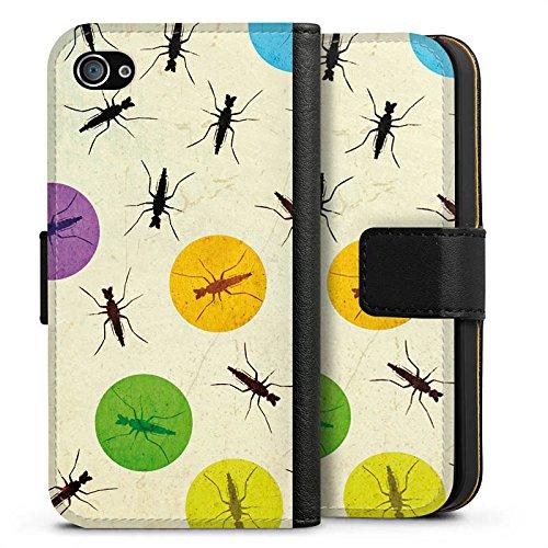 Apple iPhone X Silikon Hülle Case Schutzhülle Mücke Käfer Punkte Sideflip Tasche schwarz