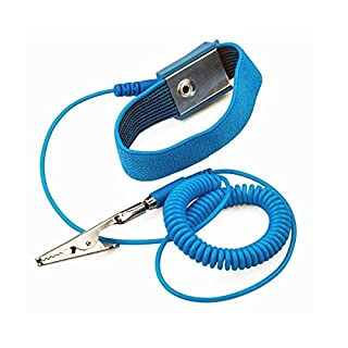 Aituo Anti-Static Metal Adjustable Wrist Strap Coated With Paint Grounding Wrist Band ESD Discharge - Prevents Build up of Static Electricity (Wired)