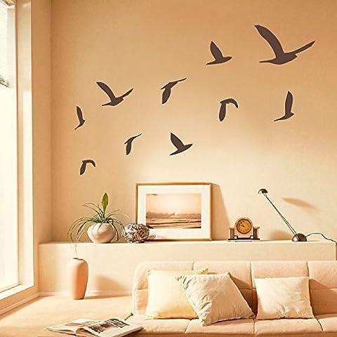 Adesivo da parete Decor Gabbiani Set di 10adesivi da parete in vinile, Spiaggia, Decorazione da parete uccelli Wall Decals (Large, Nero)