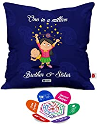 Indigifts Rakshabandhan Gifts for Sister One in a Million Siblings Quote Dark Blue Cushion Cover 12x12 inches with Filler - Sister Rakhi Gift, Brother Gifts for Birthday, Rakhi Gifts for Brother