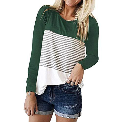 MRULIC Frauen Kurzarm Dreifach Farbe Block Streifen T-Shirt Casual Bluse Damen Shirt Weisse Bluse(S-Grün,EU-40/CN-L)