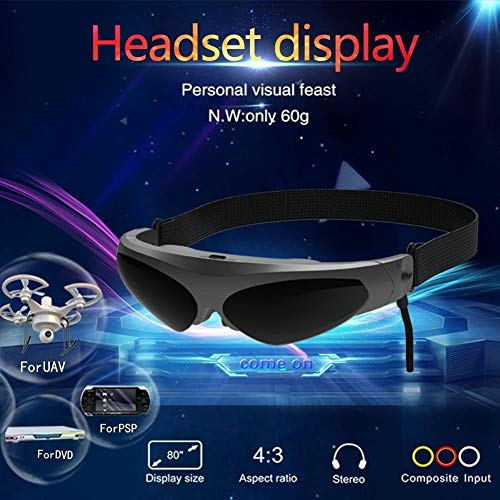 You will think of me Occhiali 3D VR Realtà Virtuale Display a Testa AV FPV Smart Video Occhiali per Lettori Dvd Blu-Ray Droni MP5 PS3 Xbox TV (Color : Black)