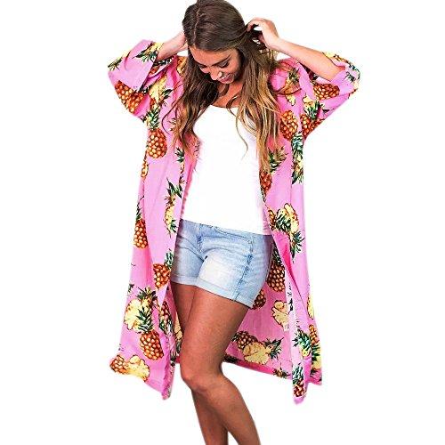 iHENGH Vorweihnachtliche Karnevalsaktion Damen Herbst Winter Bequem Mantel Lässig Mode Jacke Frauen Frauen Sommer Ananas Print böhmischen Kimono Cardigans Bluse vertuschen