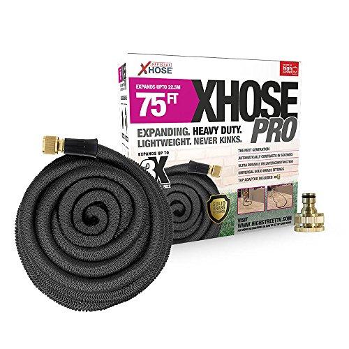 XHose Pro 22,9 m Super léger Extensible Tuyau d'arrosage avec raccords de Laiton Massif – Noir