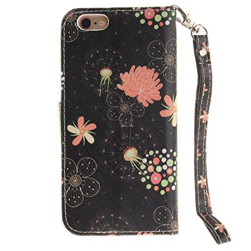 "Apple iPhone 6S Plus Coque Cuir Portefeuille, iPhone 6 Plus Case, Etui iPhone 6 Plus 5.5"" Rabat Style Flexible PU Joli Original Peinture - Moitié Une fleur Rose-3"