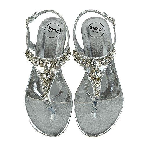 ESSEX GLAM Donna Piatto Punto di Punta Diamante Sintetico Vacanza Sandalo Argento metallizzato