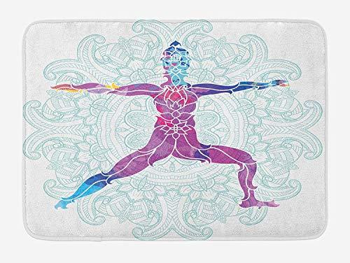 VTXWL Chakra Bath Mat, Girl on Yoga Warrior Pose with Lotus Flower Petal Lines and Shapes Boho Art Print, Plush Bathroom Decor Mat with Non Slip Backing, 23.6 W X 15.7 W Inches, Purple Blue Petal Crown Flower Shape