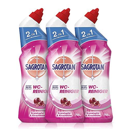 Sagrotan WC-Reiniger Granatapfel & Kirschblüte - Reinigungsmittel für langanhaltende WC-Frische - 3 x 750 ml Toilettenreiniger im praktischen Vorteilspack