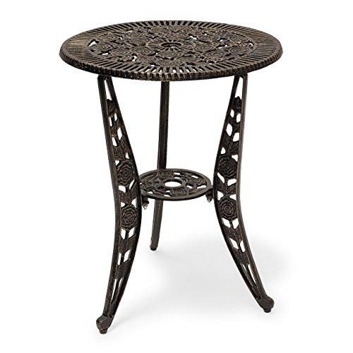 Relaxdays Bistrotisch HBT 64 x 50 x 50 cm Gartentisch aus Aluminium Tisch für Terrasse und Wintergarten Gartenmöbel im Jugendstil mit Blumen Muster, bronze