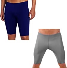 KD Willmax Compression Half Tight Plain Pack of 2 Athletic Fit Multi Sports Cycling, Cricket, Football, Badminton, Gym, Fitness & Other Outdoor Inner Wear