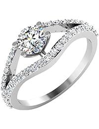 IskiUski White Gold And American Diamond Ring For Women - B075VHDHQX