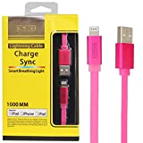 Dmg Mfi Certified 1Mtr 8 Pin Lightning Cable Glow Usb Sync And Data Transfer For Apple Iphone 5/ 6/6S/6Plus/ Apple Ipad Air/Air 2/Ipad Mini (Pink)