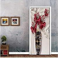 Suuyar Pvc Autoadhesivo Etiqueta De La Puerta 3D Joyería De La Flor Europea Wallpaper Impermeable Para
