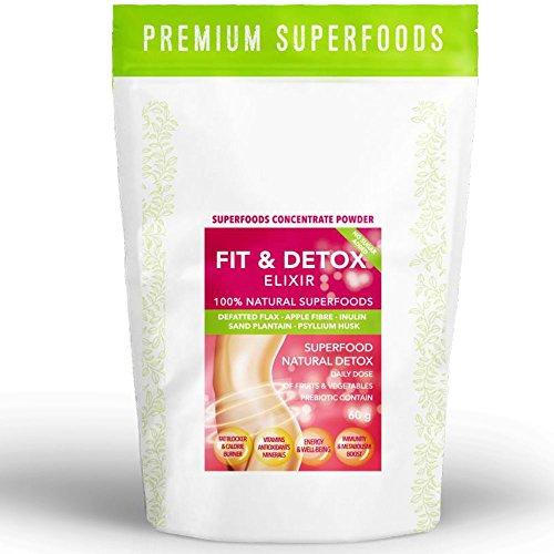 FIT & DETOX ELIXIR | Entschlackung & Entgiftung aus 5 ausgewählten Superfoods | 2-3 Wochen Zyklus (vegan) | Flohsamen Flohsamenschalen Inulin Leinsamen | Ohne künstliche