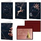 Weihnachtskarten 20er Set mit Umschlägen Urdays - Klappkarten für Weihnachtsgrüße 20 Stück - Frohe Weihnachten Modern Design