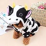 LA VIE Abrigo Adorable con Capucha para Perros Pequeños Forma de Vaca Disfraz Divertido para Perros Traje Ropa Cómodo en Otoño e Invierno para Mascotas Gatos Puppy Cachorros Perros Pequeños M