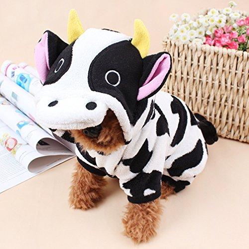 Hianiquaime Warm Weicher Plüsch Hundeanzug mit Kapuze Haustiere Lustig Kuh Kostüm mit 4 Beinen Karton Tiere Hundebekleidung für Kleine Mittlere Welpe Hunde Katzen Schwarz und Weiß (Schwarze Und Weiße Welpen Kostüm)