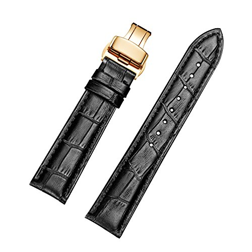 Genuine Calf Leather Watch Straps with Gold Expanding Buckle (18 mm, Black)