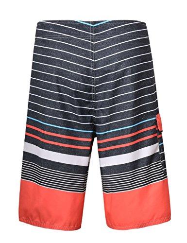 Hilor Herren Schnell Trocknend Boardshorts Surfshorts Strand Shorts Badeshorts Streifen 3 Schwar