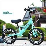 1-1 Bicicleta Infantil(con Freno), Bicicleta Sin Pedales (para 2~6 Años Niños, Marco De Acero Carbón, Manillar Y Asiento Ajustables),Green
