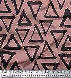 Soimoi Rosa Poly Georgette Stoff Dreieck geometrisch Dekor
