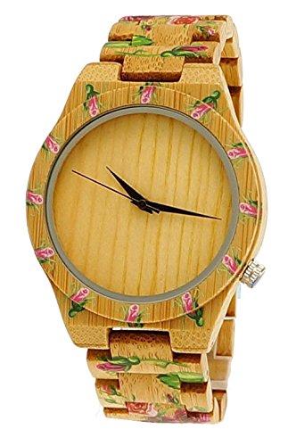 Handgefertigte Holzwerk Germany® Designer Damen-Uhr Öko Natur Holz-Uhr Armband-Uhr Analog Klassisch Quarz-Uhr mit Blumen Rosen-Motiv