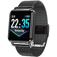 TYWZF Orologio Fitness Inteligente Hombres Impermeables Dynamic Blood Oxygen Pressure Podómetro Smartwatch De Frecuencia Cardíaca,Black