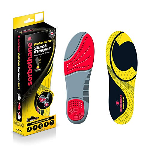 Sorbothane Double Strike Insoles, Shock Absorbing Shoe Soles for Football Boots, Running, or Walking, Impact Reducing Footbeds for Plantar Fasciitis, Heel Support, and Shin Splints