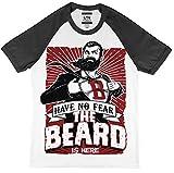 kriegen No Fear den Bart ist Hier Baseball Stil T-Shirt - Weiß/schwarz, X-Large