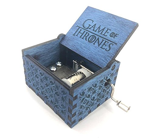 cuzit antiguo caja de música de juguete de madera tallada mano manivela Caja de música gift-blue