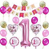 Nvetls 1. Geburtstag Dekorationen für Junge o Mädchen Kindergeburtstag Deko Jungen Mädchen 1 Jahr (Pink)
