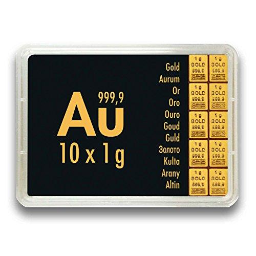 Goldbarren 10 Gramm 999.9 Feingold - 10 x 1g Gold in der Motivbox - Geschenkidee - Tafelbarren