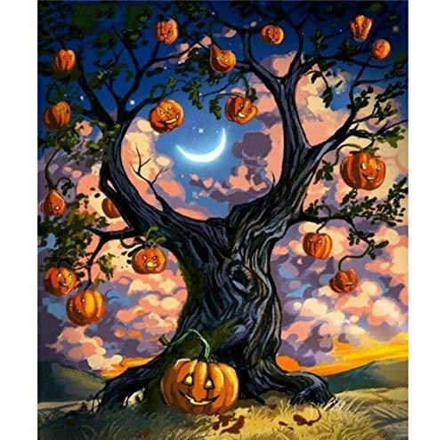 nt Malerei Kits Kürbis & Katze Kreuzstich Hobbys Handwerk Halloween Diamant Stickerei Dekoration H Rahmenlose 40x50 cm ()