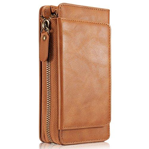 HARRMS Samsung Galaxy S8 Plus Handy Hülle Leder Case mit Kartenfächer Geldscheinfach mit Reißverschluss Magnet Schutzhülle,Braun