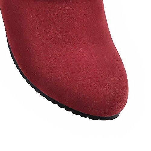 Odomolor Damen Eingelegt Mattglasbirne Mittler Absatz Ziehen Auf Rund Zehe Stiefel Rot