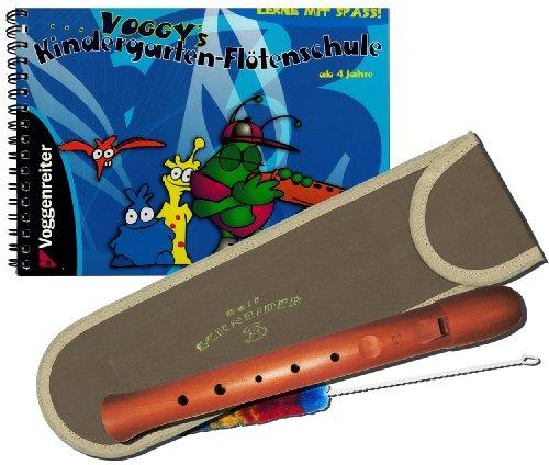 Preisvergleich Produktbild Kindergarten-Flöten-Set -- Fünfloch-Blockflöte (g-e) aus Birnenholz inkl. Tasche und Wischer und Voggy's Kindergarten-Flötenschule - das beliebte Lernheft für Kinder ab 4 Jahre