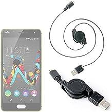 DURAGADGET Cable MicroUSB Para Wiko Fever Special Edition / Lenny 3 - ¡Ideal Para Pasar Sus Datos Al PC! - Retráctil