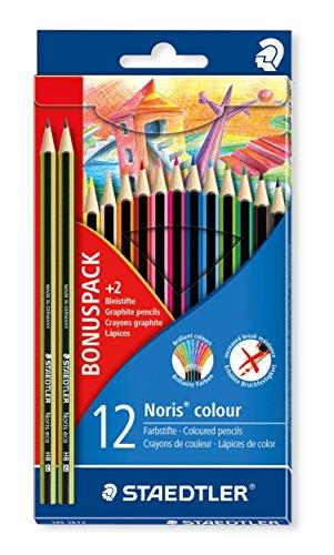 Staedtler Noris 185 SET3. Lápices de colores ecológicos. Caja de 12 unidades con dos lápices de grafito de regalo.