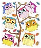 Stickerkoenig Wandtattoo 3D Sticker für Kinderzimmer XXL Set - niedliche Eulen Set I
