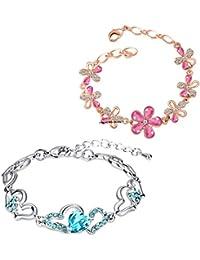 Oviya Combo Of Elegant Floral And Heart Link Bracelets With Crystal Stones CO2104698M